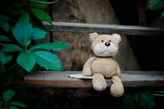 vieil ours en peluche, doudou à réparer